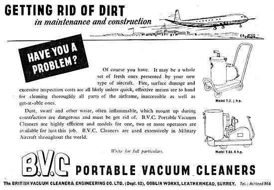 BVC. British Vacuum Cleaner Co. Industrial Vacuum Cleaners