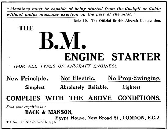 Back & Manson. B.M. Aircraft Engine Starters