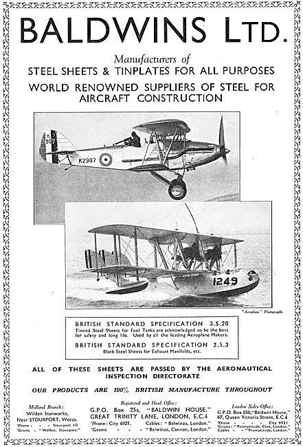 Baldwins - Manufacturers Of Steel Sheets & Tinplates For Aircraft