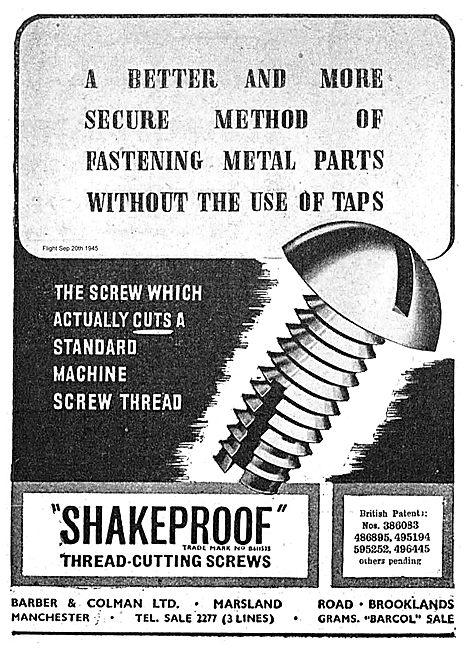 Barber & Colman Shakeproof Thread Cutting Screws