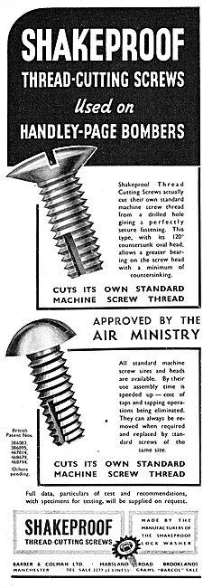Barber & Colman Thread-Cutting Screws 1939