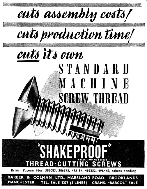 Barber & Colman Shakeproof Thread-Cutting Screws