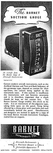 Barnet Instruments Aircraft Suction Gauge