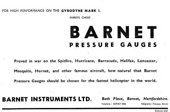 Barnet Instruments - Barnet Pressure Gauges 1949