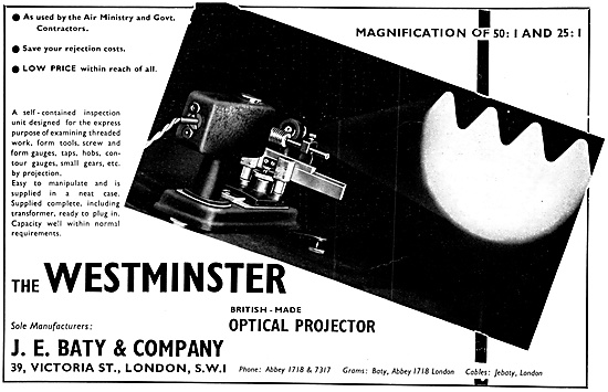 J.E.Baty Westminster Optical Projector
