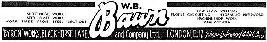 W B Bawn: Sheet Metal Work & Welding  1943 Advert