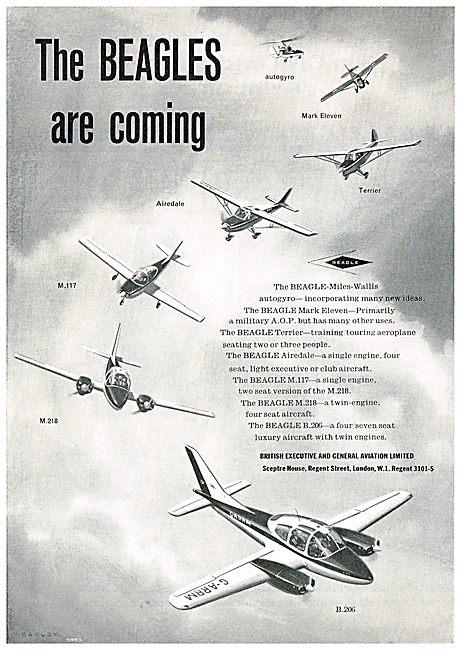 Beagle Aircraft:  Mk11, Autogyro, Terrier, Airedale, M117