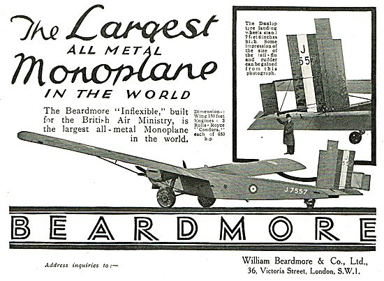 Beardmore Inflexible The Largest All Metal Monoplane In The World