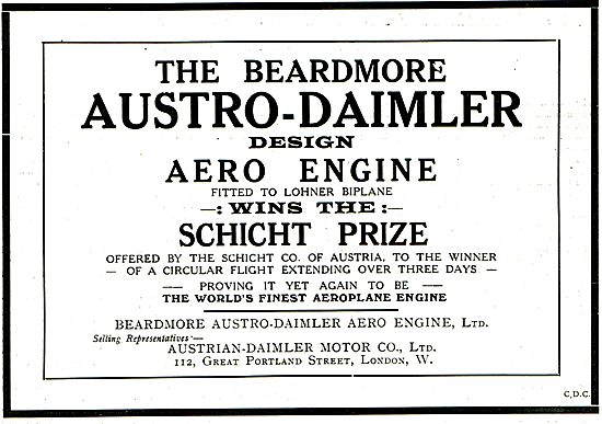 Beardmore Austro Daimler Aero Engine Wins Schict Prize