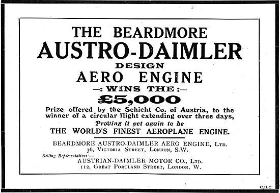 Prize Winning Beardmore Austro Daimler Aero Engines