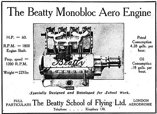 The Beatty Monobloc 60 HP Aero Engine Designed For School Use