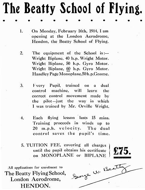 The Beatty School Of Flying - Hendon 1914