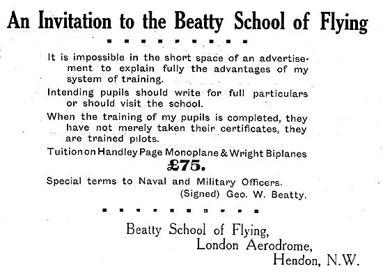 Tuition On Handley Page Monoplanes At The Beatty School Of Flying