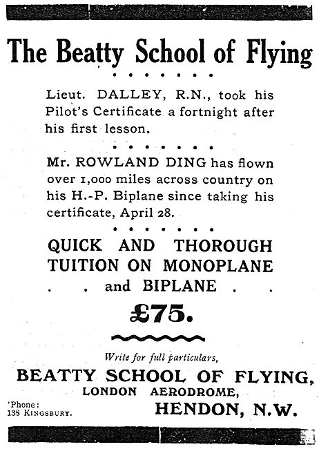 Lieut Dalley Took His Certificate In A Fortnight At Beatty School