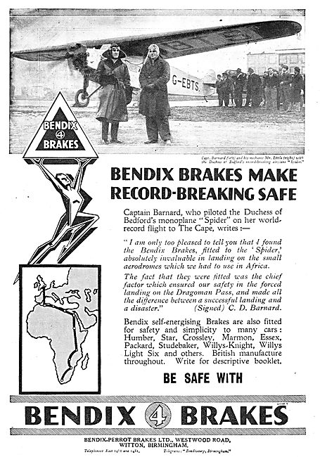 Bendix Brakes Fitted To Barnard's Record Breaking Aircraft