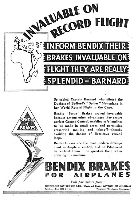 Captain Barnard Endorses Bendix Aircraft Servo Brakes