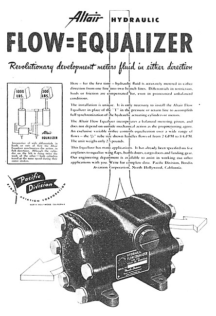 Bendix Corporation Pacific Division Altair Hydraulic Equaliser