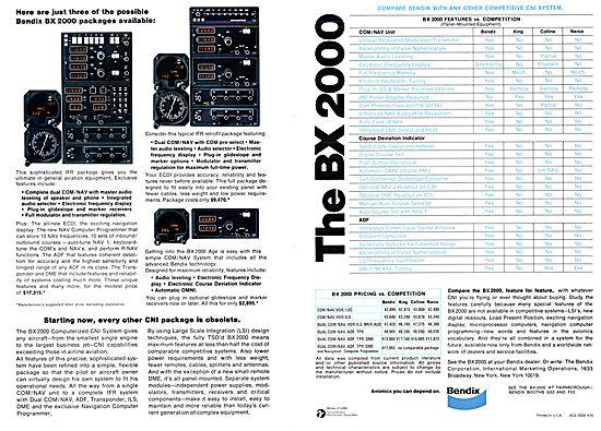 Bendix BX 2000 Avionics Range 1976