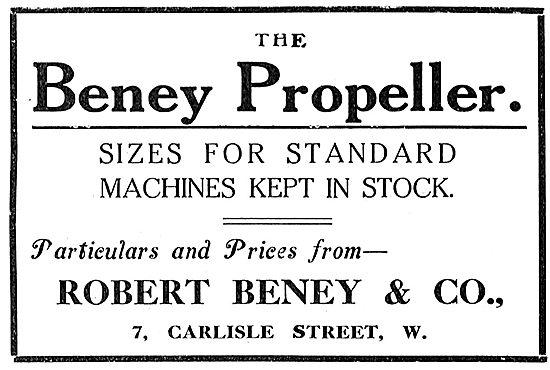 Beney Aeroplane Propellers - 7 Carlise St. London