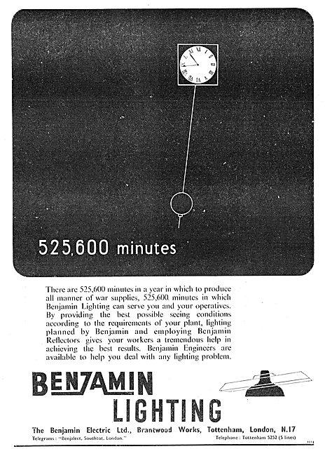 Benjamin Electric - Benzamin Factory Lighting 1942 Advert
