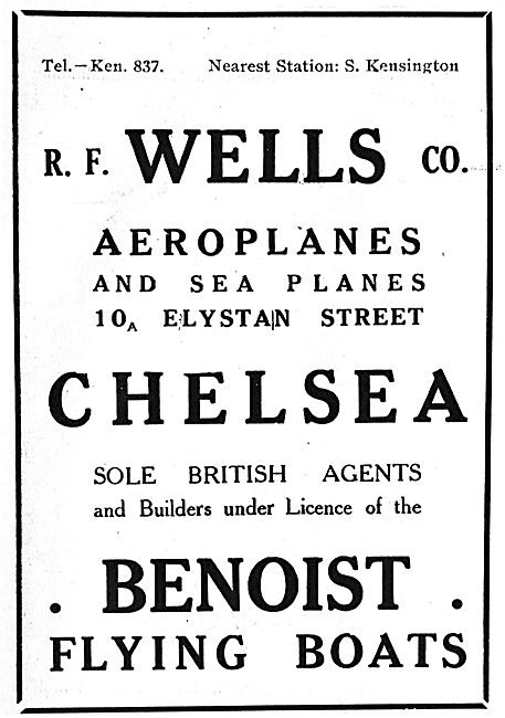 R.F.Wells Co Agents & Builders For Benoist Flying Boats