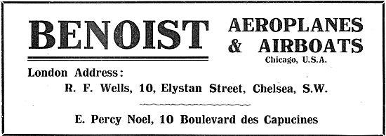 Benoist Aeroplanes. London Address. R.F.Wells. Chelsea