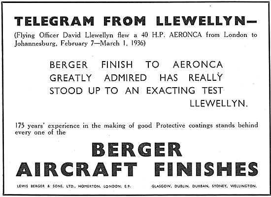 Berger Aircraft Finishes - Llewellyn Aeronca Cape