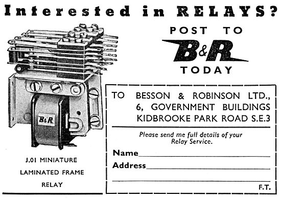 Besson & Robinson Electrical Relays - Laminated Frame Relay