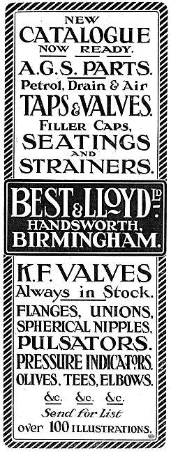 Best & Lloyd. Handsworth, Birmingham, - AGS Parts, Taps & Valves