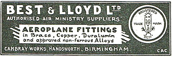 Best & Lloyd - Air Ministry Approved Brass & Copper Fittings