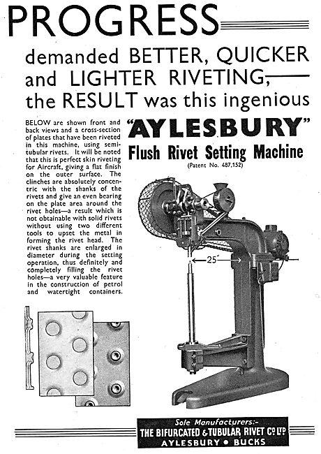 Bifurcated & Tubular Rivet  Aylesbury. Flush Rivet Setting Machin