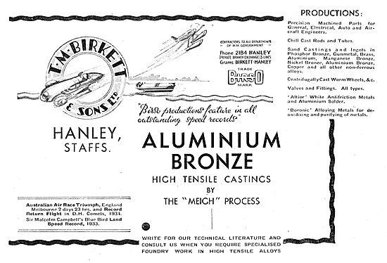 T M Birkett Aluminium Bronze High Tensile Castings  Meigh Process