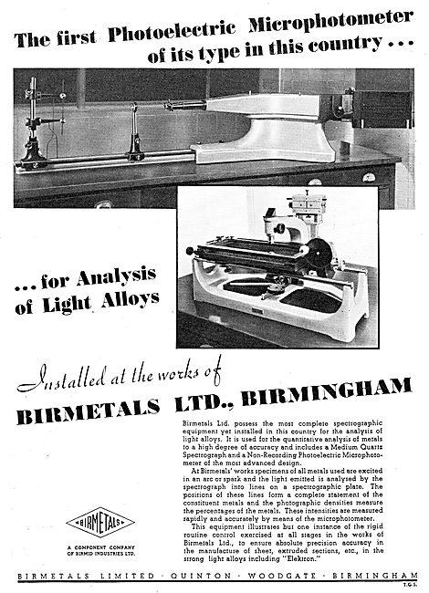 Birmetals Aluminium Alloys - Microphotometer