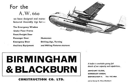 Birmingham & Blackburn - Asembly Jigs For The AW 660 Argosy