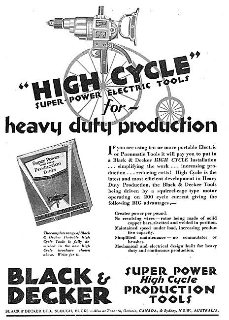 Black & Decker Electric Tools For Heavy Duty Aircraft Production