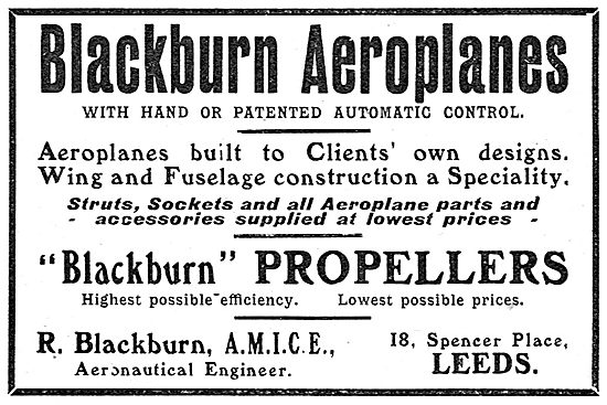 Blackburn Aeroplanes With Hand Or Patented Automatic Control
