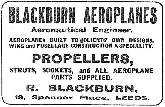 R.Blackburn Aeronautical Engineer. Aeroplanes & Propellers Built
