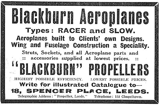Blackburn Aeroplanes - Types: Racer And Slow