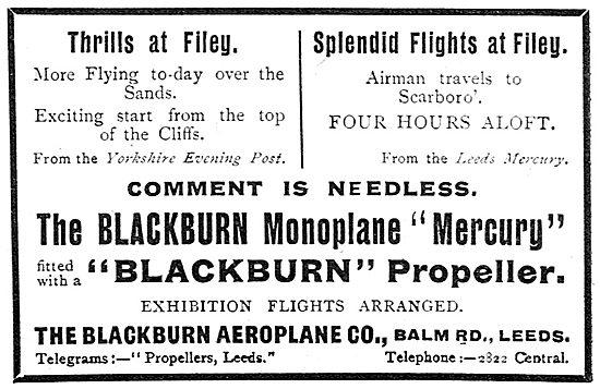 Blackburn  Monoplane Mercury At Scarborough & Filey