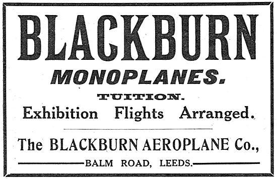 Blackburn Monoplanes. Tuition & Exhibition Flights