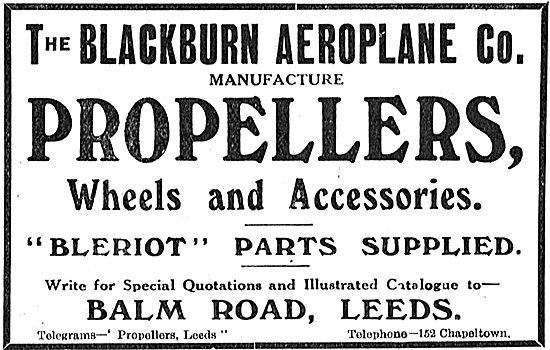 Blackburn Aeroplane Accessories: Bleriot Parts Supplied.