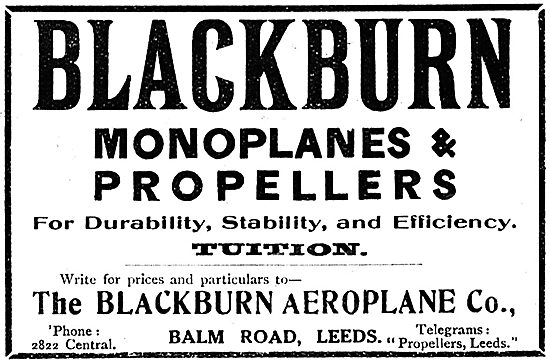 Blackburn Monoplanes & Propellers. Blackburn Aeroplane Co Leeds