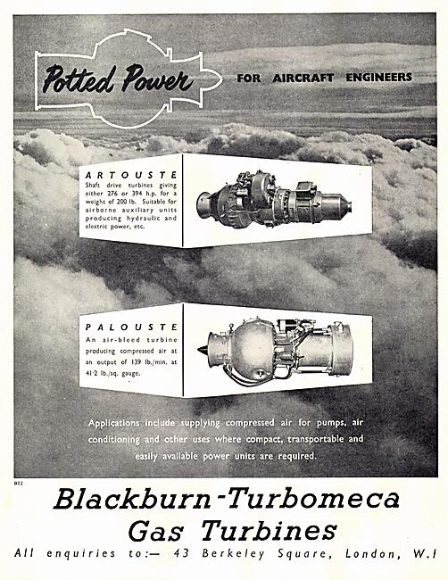Blackburn-Turbomeca Gas Turbines. Artouste Palouste 1953