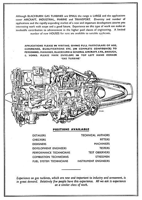 Blackburn Turbomeca Gas Turbines - Recruitment 1955