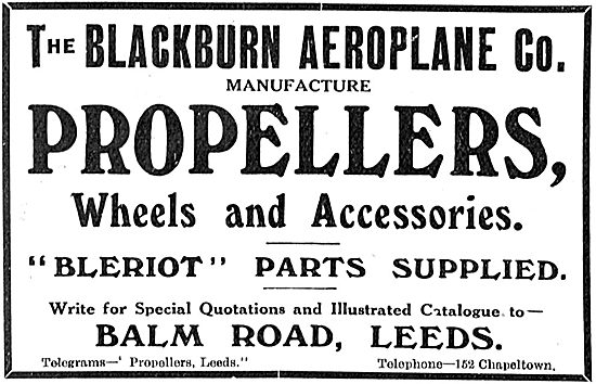 Blackburn Aeroplane Propellers & Bleriot Parts Supplied