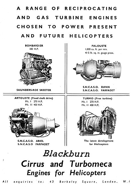 Blackburn Cirrus & Turbomeca Engines For Helicopters