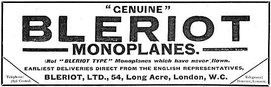 Genuine Bleriot Type Monoplanes Available For Early Delivery