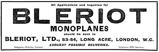 Bleriot Monoplanes - UK Offices