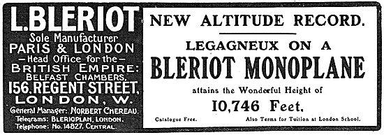 Bleriot Monoplanes - Legagneux Altitude Record