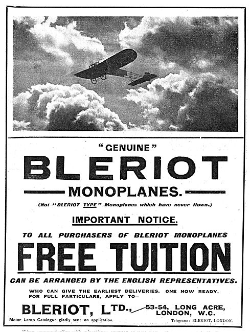 Genuine Bleriot Monoplanes - Free Tuition To All Purchasers